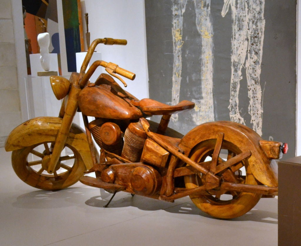 Hand Carved Wood Harley Davidson Fat Boy Motorcycle At