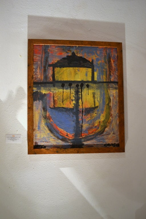 Mixed media on canvas, titled REFLECTION by self-taught artist Christopher Shoemaker, (b.1969), signed in the lower right.