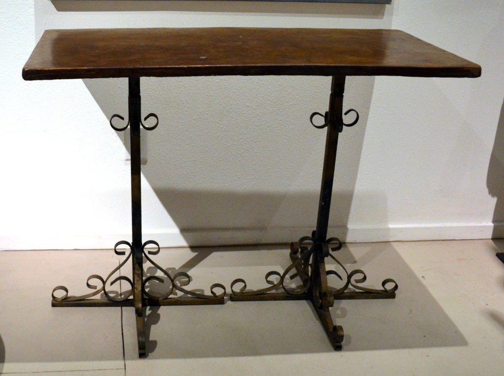 Iron and Concrete Console Table at 1stdibs