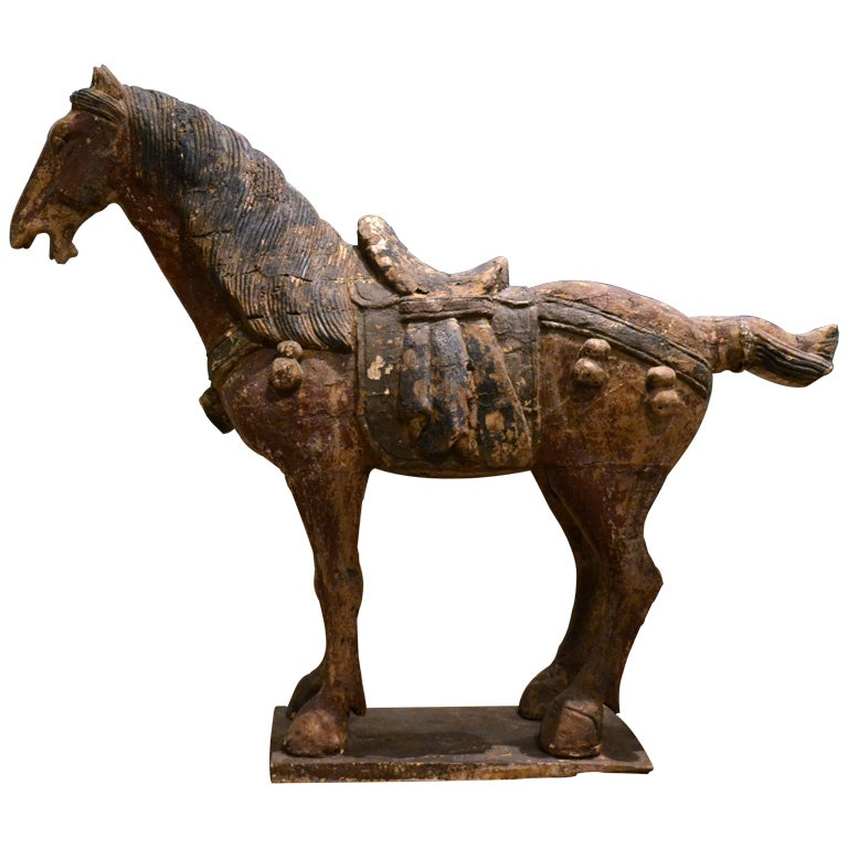 Large chinese wood carved horse at stdibs