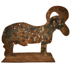 Large Steel Folk Art Goat Sculpture