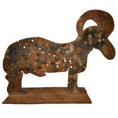 Large Steel Folk Art Goat Sculpture