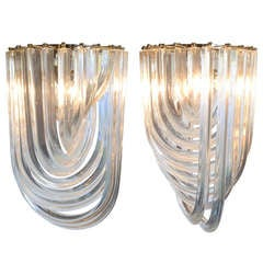 "Pair of Murano Glass ""Curve"" Chandeliers by Venini"