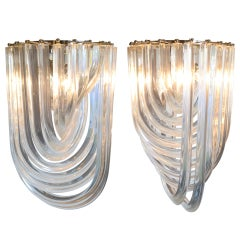 """Pair of Murano Glass """"Curve"""" Chandeliers by Venini"""