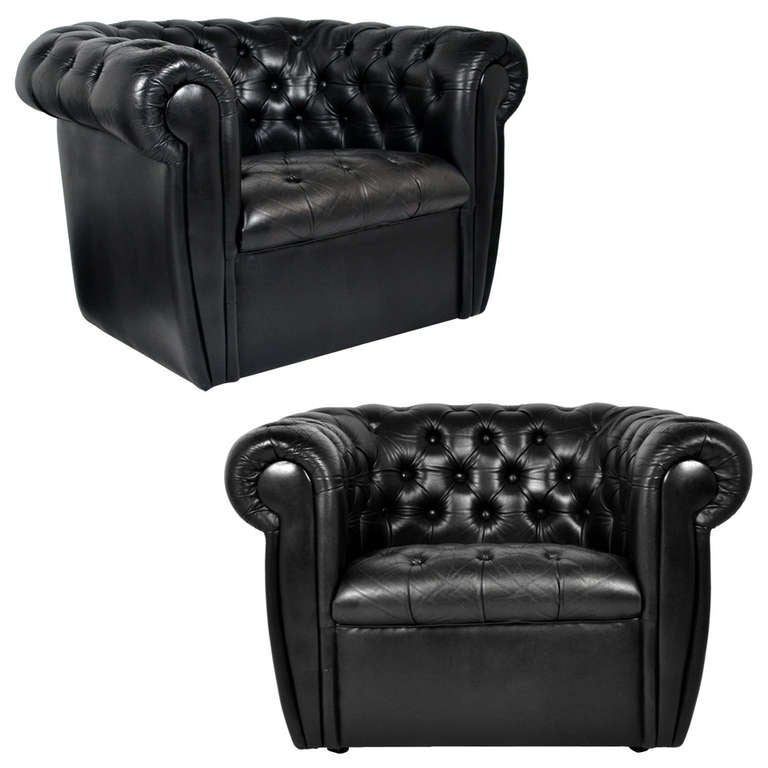 Vintage Black Leather Chesterfield Club Chairs At 1stdibs