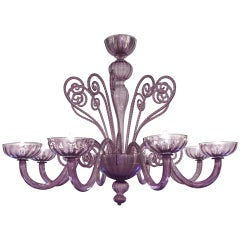 "Murano ""Viola"" Handblown Glass Chandelier"