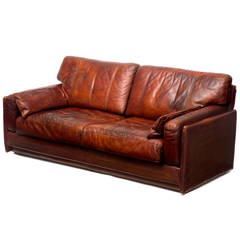 mario bellini buffalo leather sofa at 1stdibs. Black Bedroom Furniture Sets. Home Design Ideas