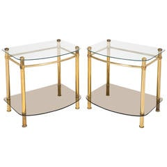 Vintage Pair of Brass and Glass Side Tables