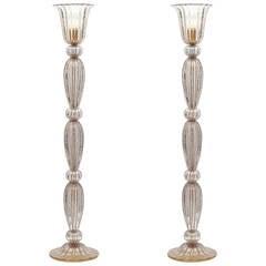 "Murano ""Pulegoso"" Amethyst Glass Floor Lamps"