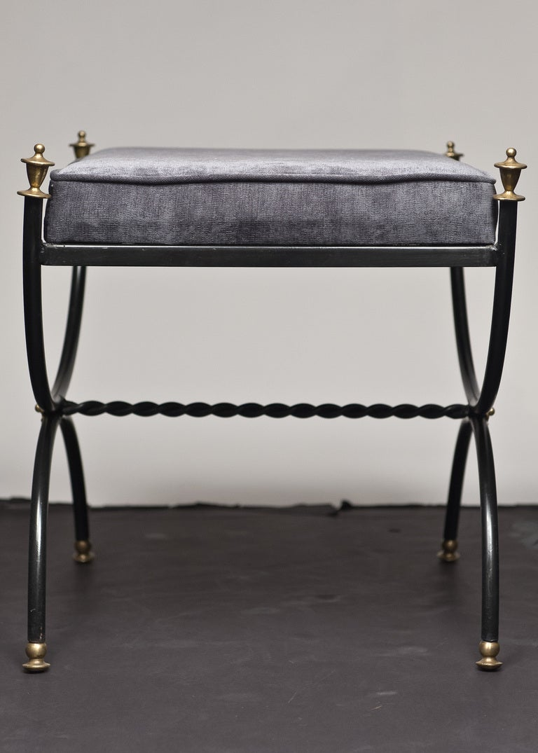 Vintage Forged Iron And Brass Curule Stool At 1stdibs