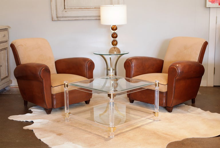 French Vintage Lucite Brass And Glass Coffee Table At 1stdibs