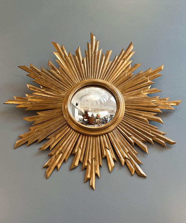 Convex gilded sunburst mirror from spain at 1stdibs for Sunburst mirror