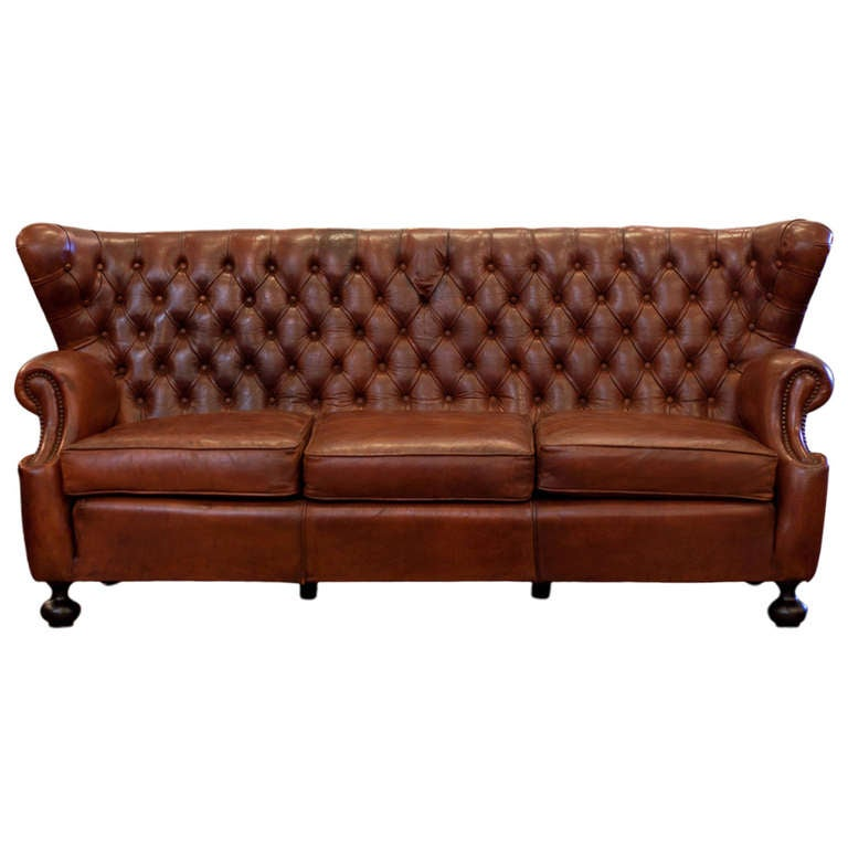 antique spanish art deco tufted leather sofa at 1stdibs
