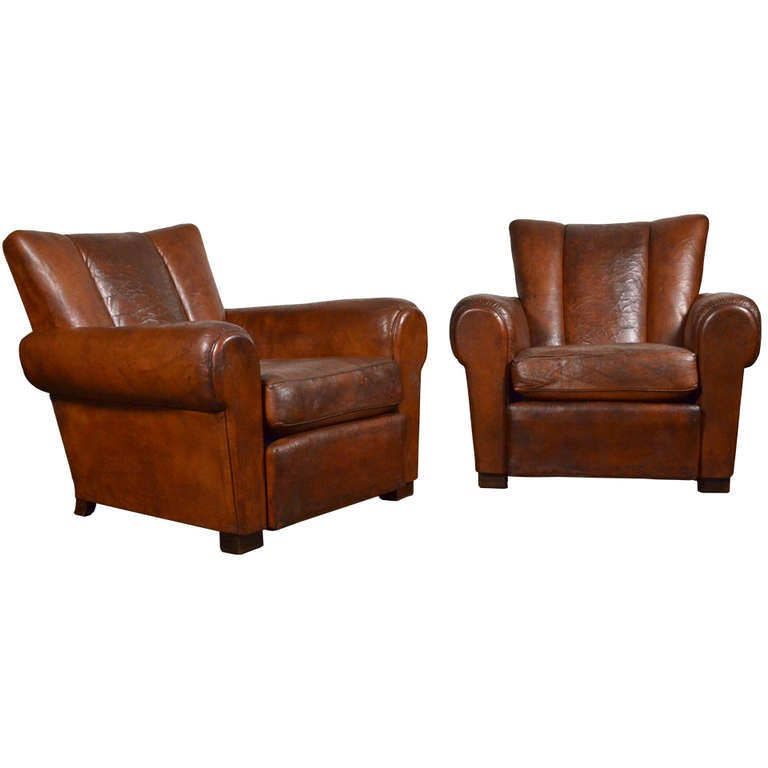 French Vintage Leather Club Chairs 1 - French Vintage Leather Club Chairs At 1stdibs