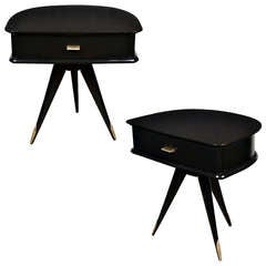 French Modernist Pair of Ebonized Side Tables