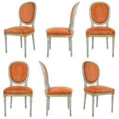 French Louis XVI 19th Century Set of 6 Chairs