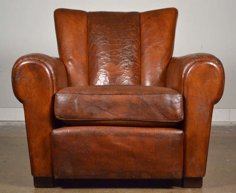 French Vintage Leather Club Chairs 3 - French Vintage Leather Club Chairs At 1stdibs