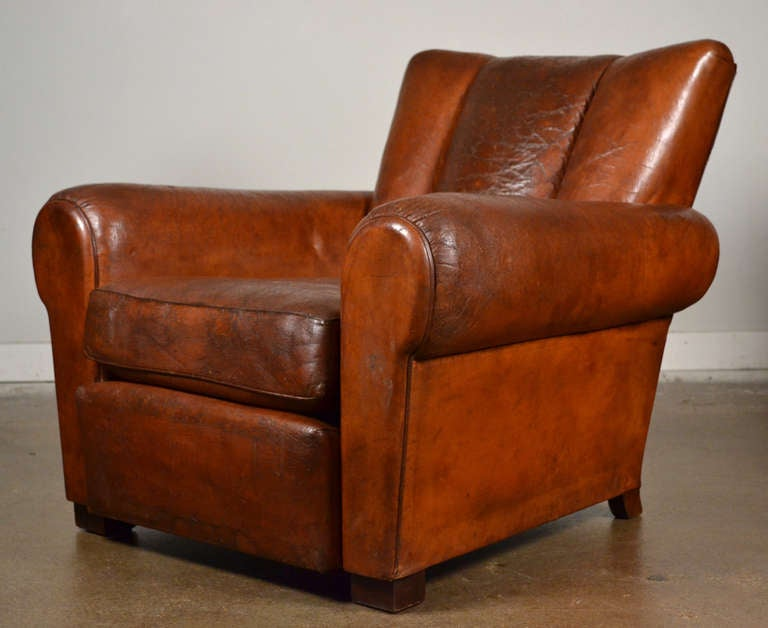 Art deco wooden chairs - French Vintage Leather Club Chairs At 1stdibs