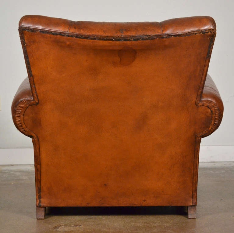 French Vintage Leather Club Chairs For Sale 2 - French Vintage Leather Club Chairs At 1stdibs