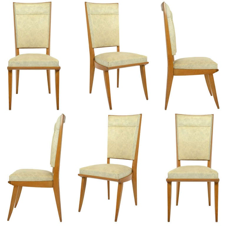 French Art Deco Set of 6 Maple Dining Chairs at 1stdibs