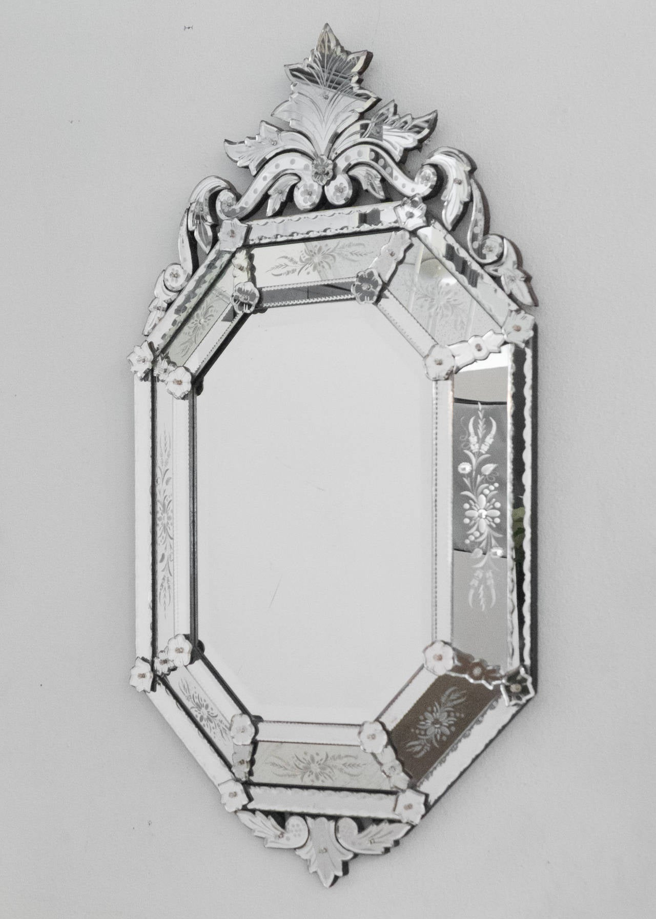 Baroque Antique Italian Mirror of Venetian Glass For Sale