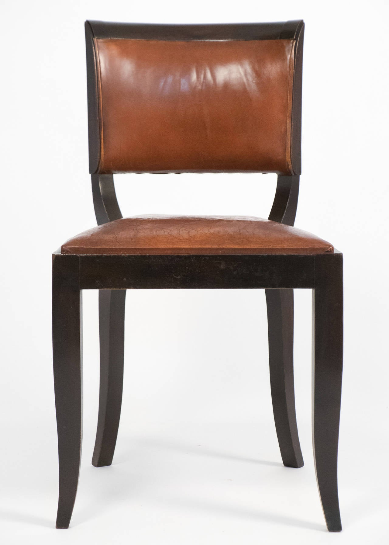 deco set of six leather dining chairs at 1stdibs