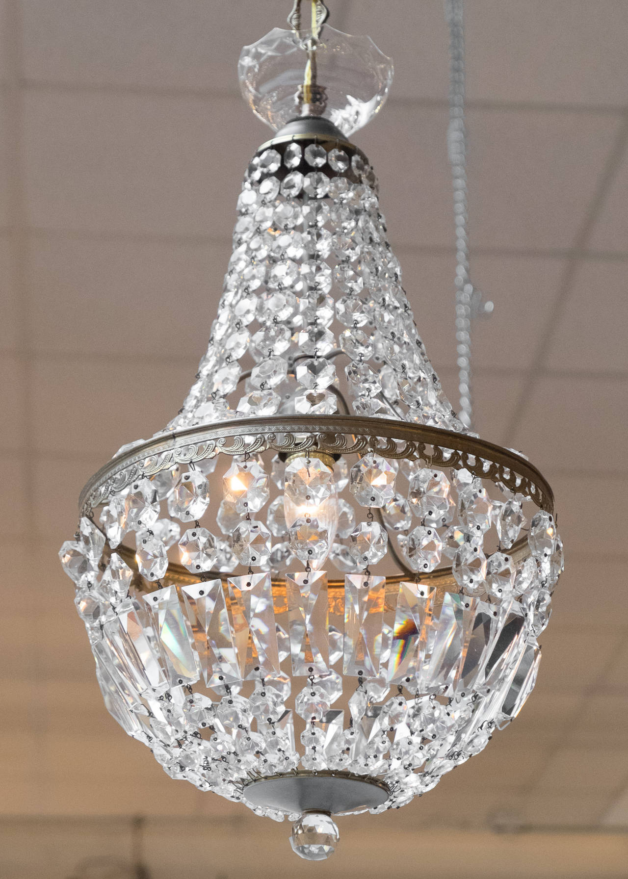 French Empire Crystal And Bronze Chandelier At 1stdibs