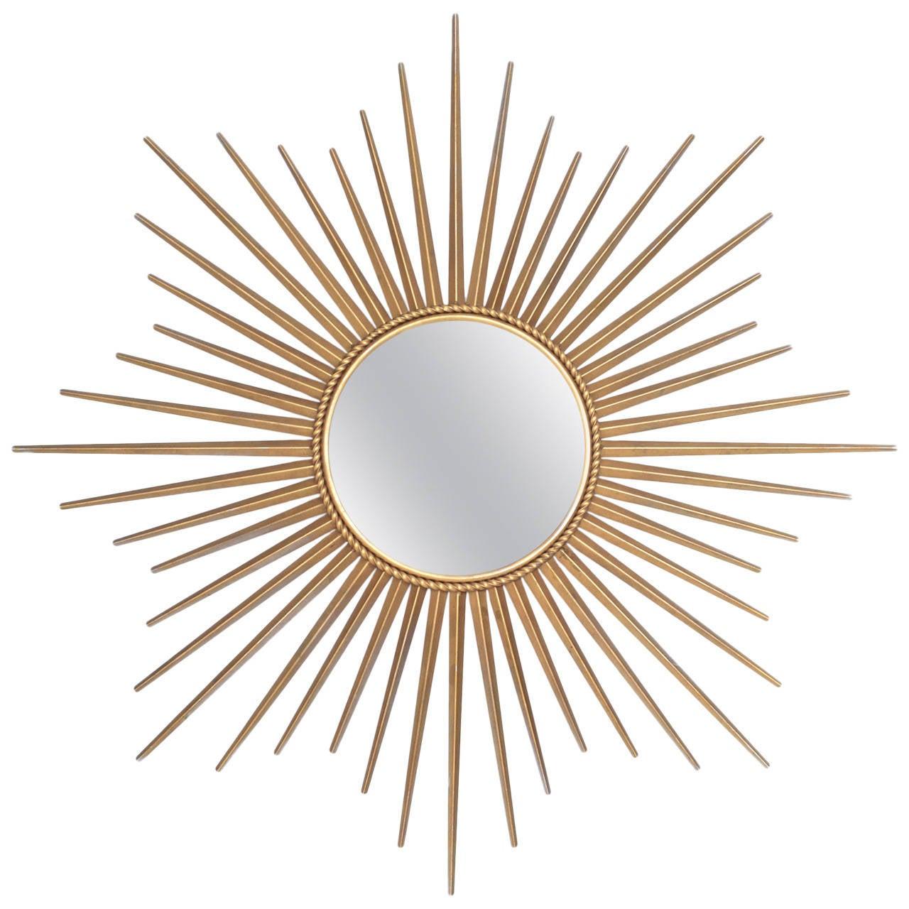 French vintage brass sunburst mirror at 1stdibs for Sunburst mirror