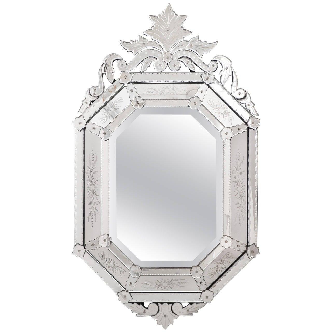 Antique Italian Mirror of Venetian Glass For Sale