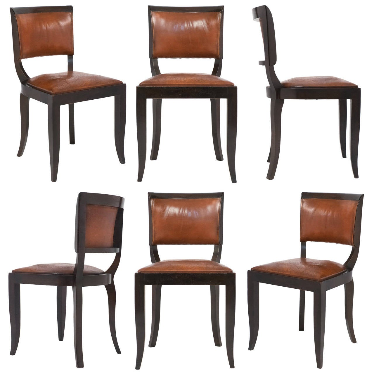 French Art Deco Set Of Six Leather Dining Chairs At 1stdibs