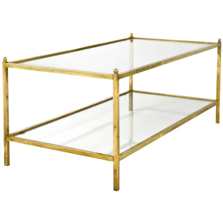 Jacques Adnet Style Vintage Brass And Glass Coffee Table At 1stdibs