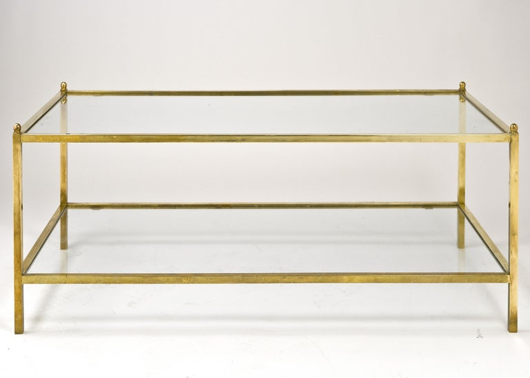 Jacques Adnet Style Vintage Brass And Glass Coffee Table
