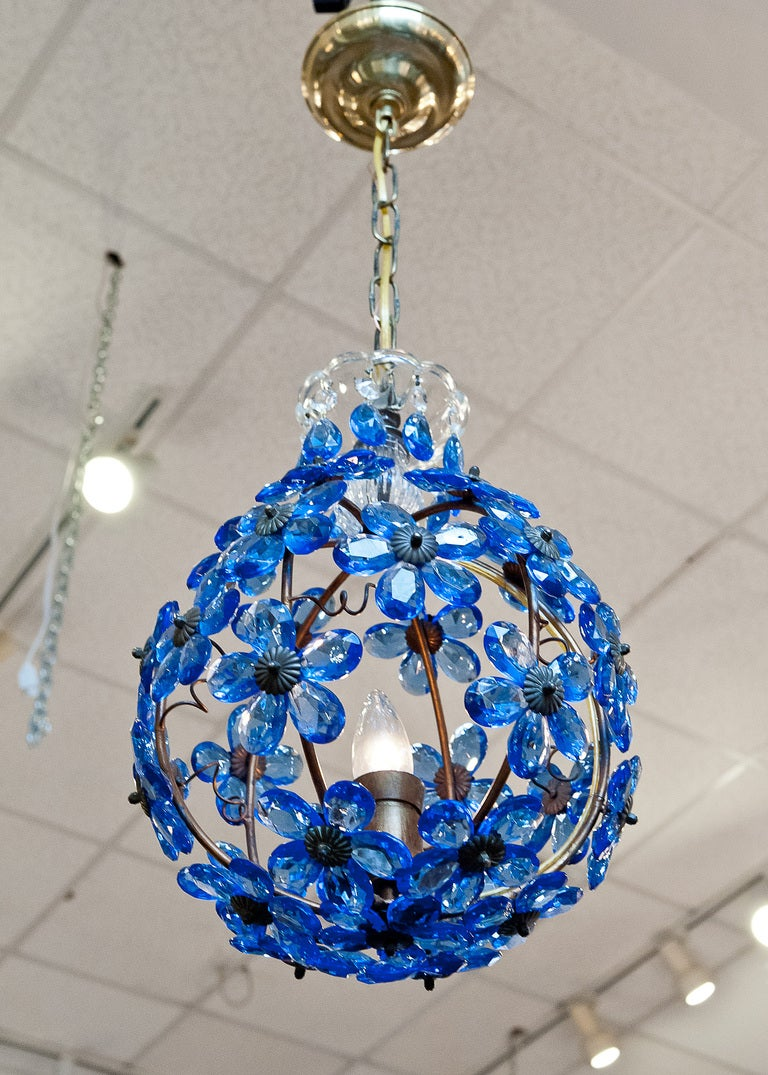 Sapphire blue crystal and brass chandelier at 1stdibs antique sapphire blue crystal brass chandelier for sale 3 mozeypictures Image collections