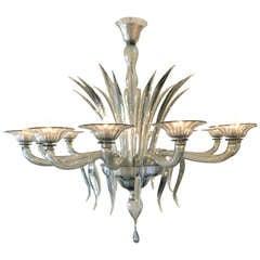 Murano Iridescent Smoked Blown Glass Chandelier By Barbini