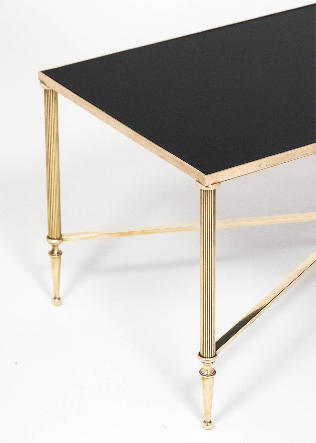 French vintage black glass and brass coffee table at 1stdibs for Coffee tables black glass