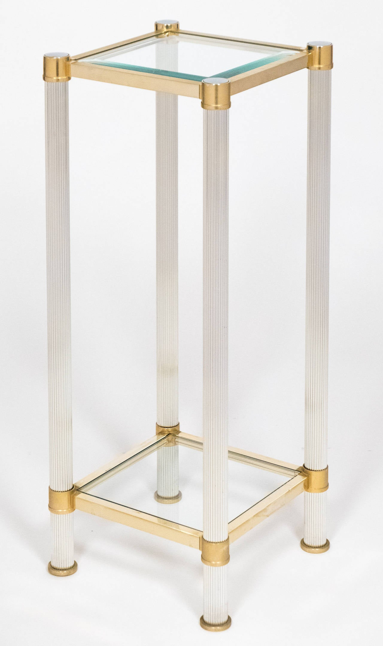 Vintage Glass Side Table ~ Vintage chrome brass and glass side tables at stdibs