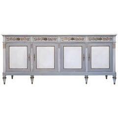 Grand French Louis XVI Carrara Marble-Top Buffet