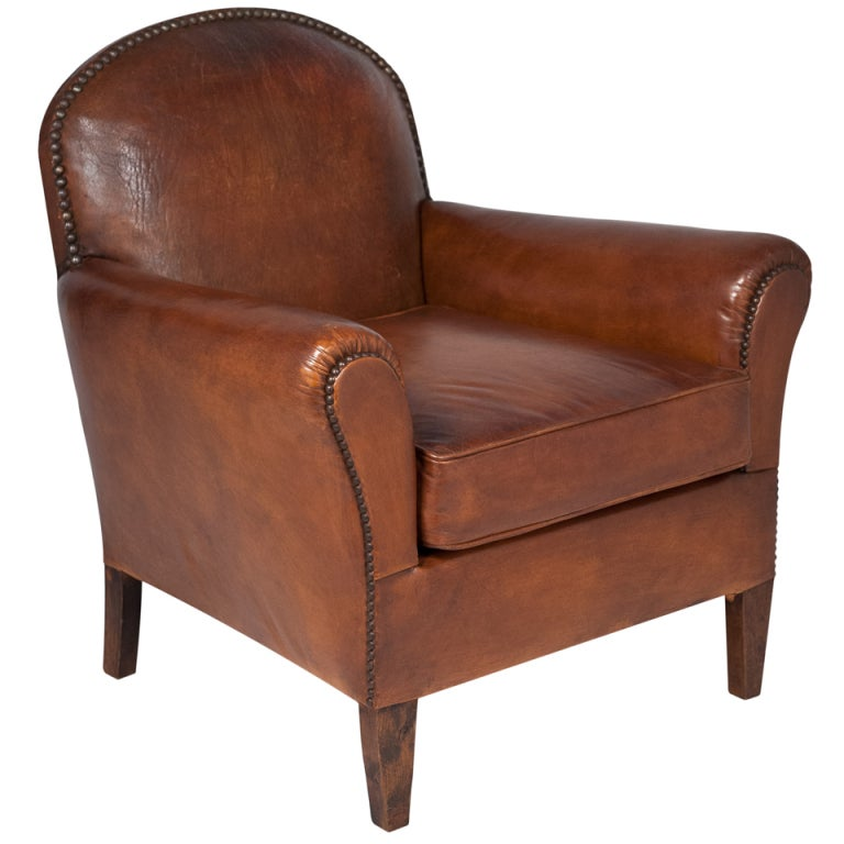 French Vintage Leather Club Chair At 1stdibs