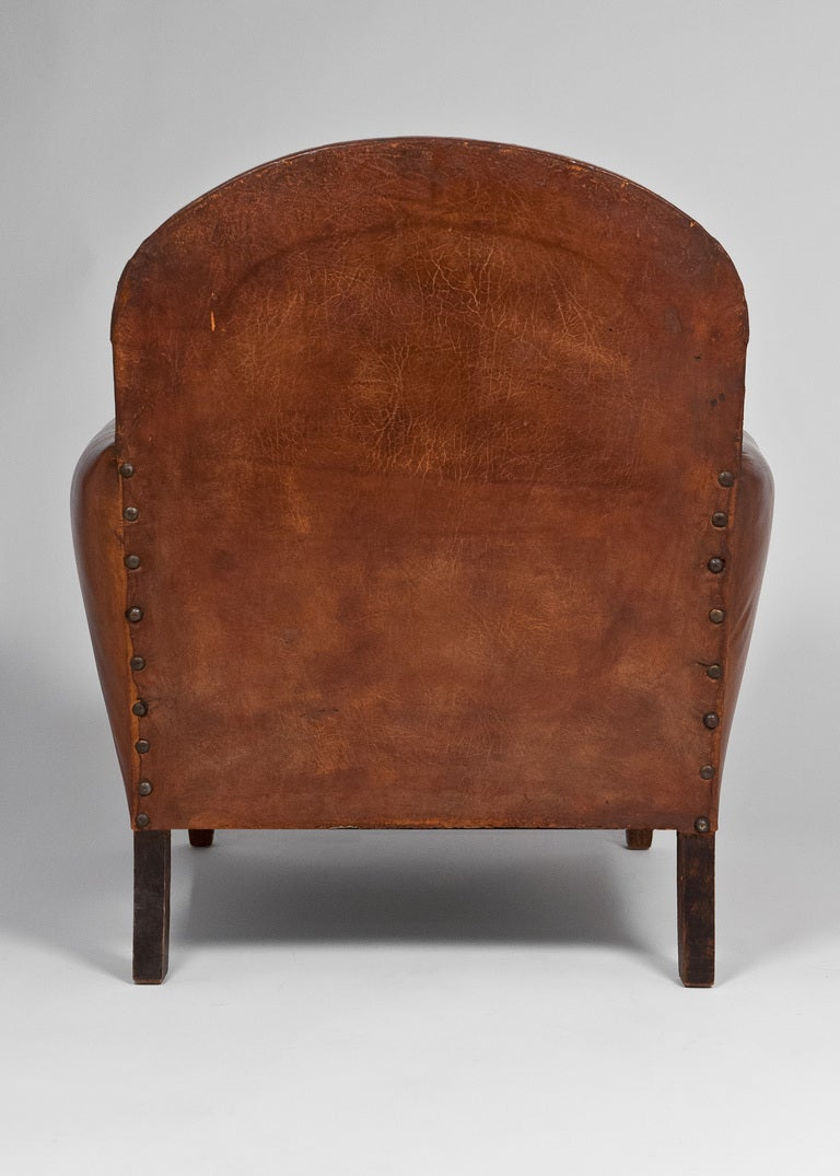 Mid 20th Century French Vintage Leather Club Chair For Sale