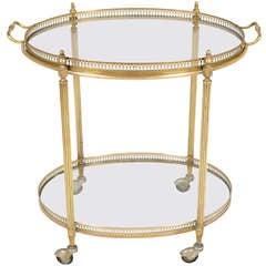 French Art Deco Oval Brass Bar Cart