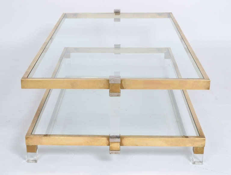 Large lucite chrome and brass coffee table at 1stdibs - Superb Brass Lucite And Glass Coffee Table By Romeo Rega