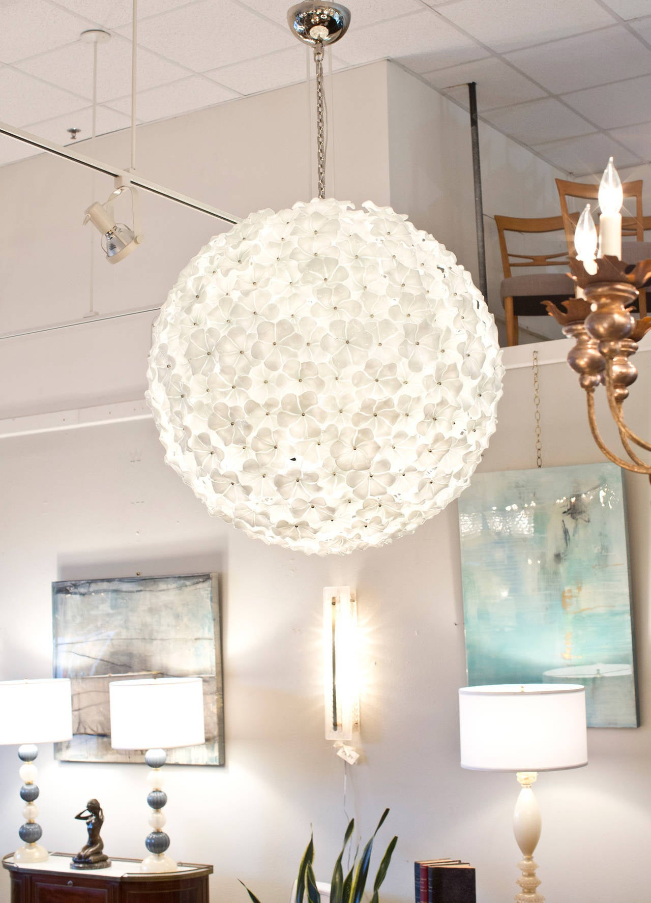 Monumental murano glass flower chandelier by cenedese for sale at gorgeous gigantic murano glass flower chandelier in opaline and clear glass 313 flowers made aloadofball Image collections