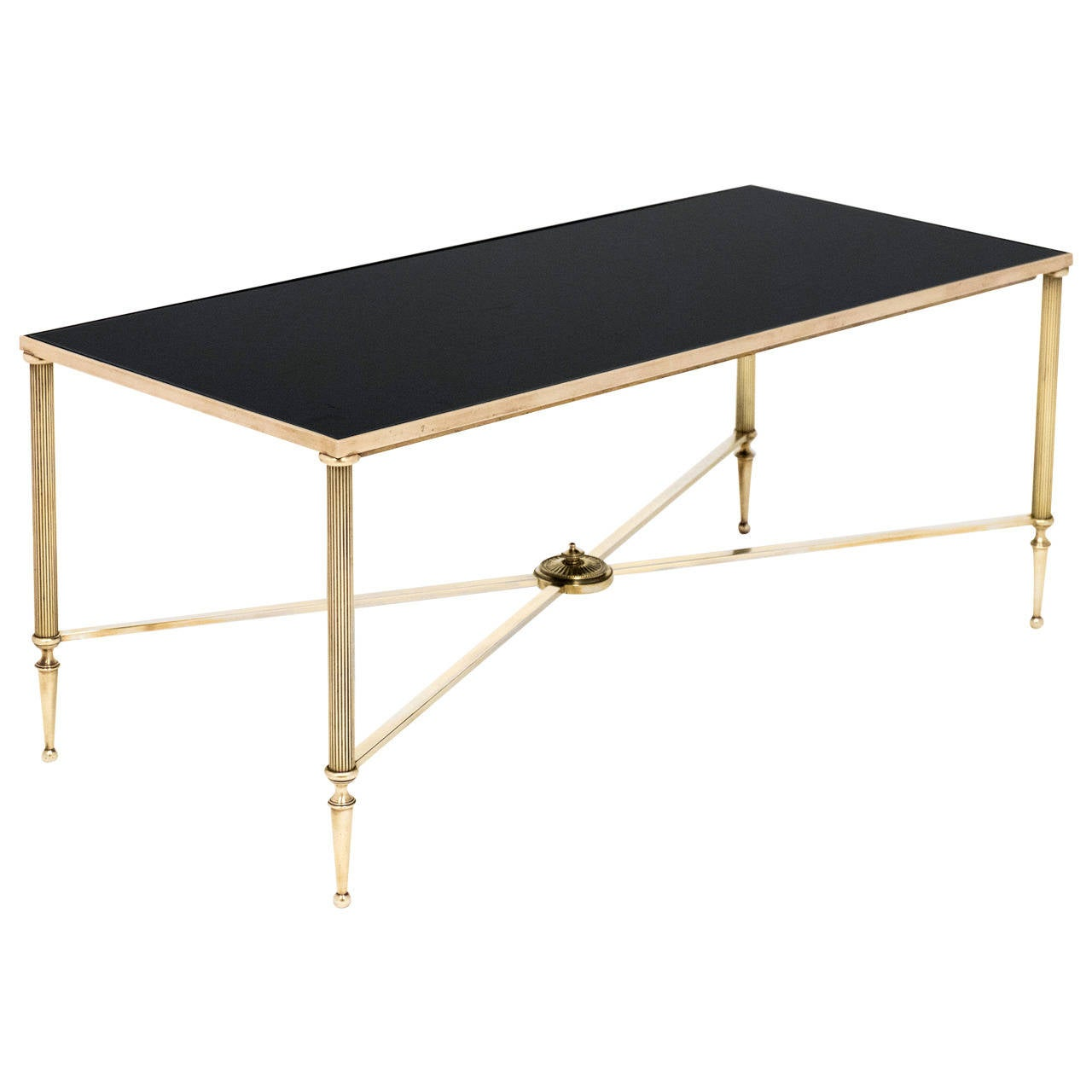 French vintage black glass and brass coffee table at 1stdibs Antique brass coffee table