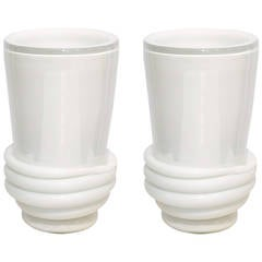 Pair of White Murano Glass Vases by Constantini