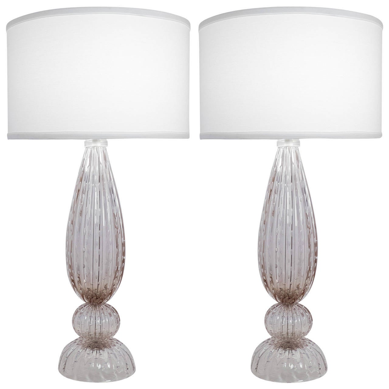 Murano Pulegoso Glass Table Lamps At 1stdibs