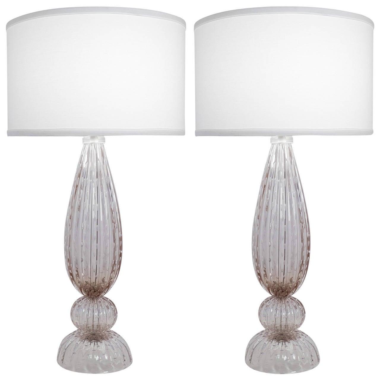 Murano Pulegoso Glass Table Lamps At 1stdibs
