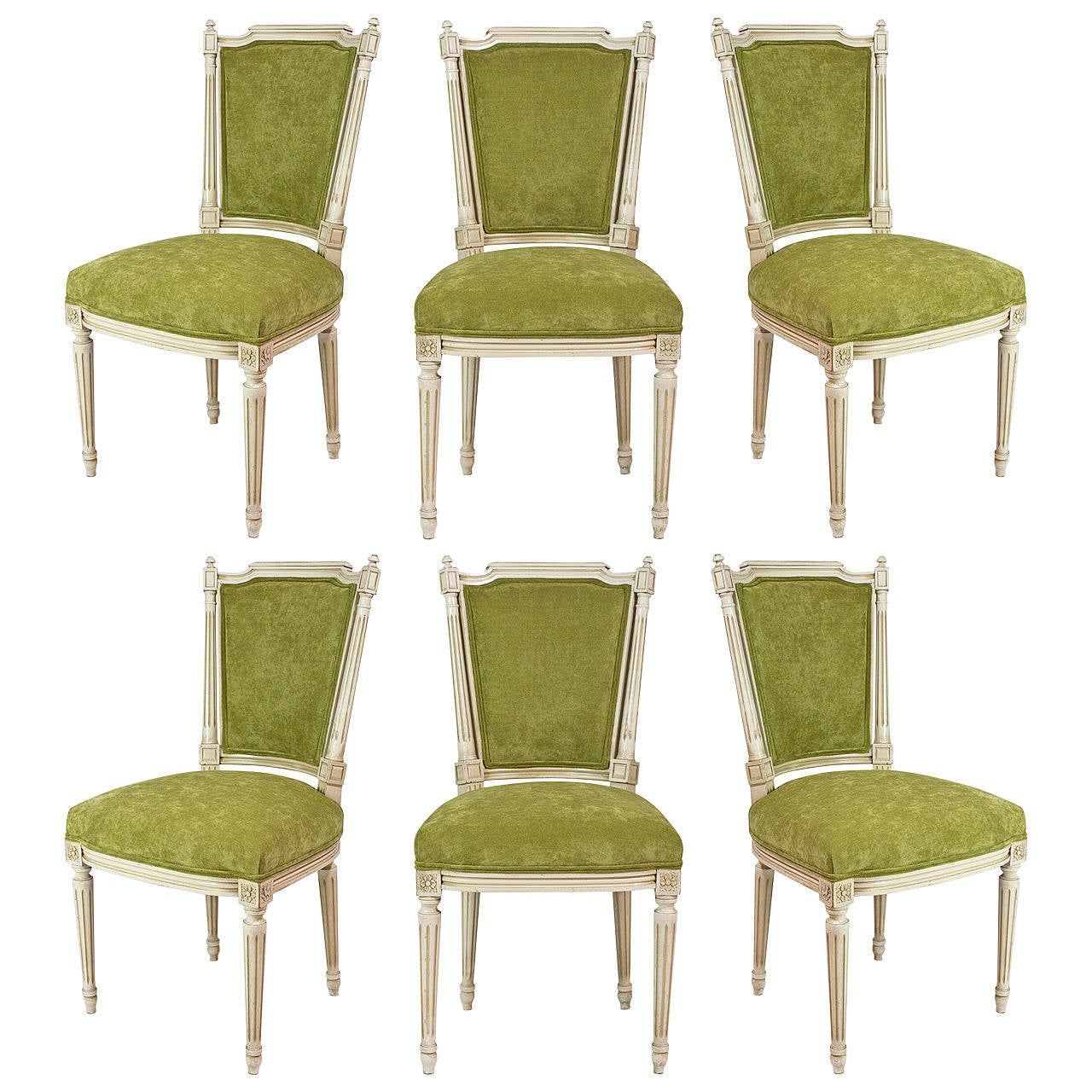 French antique louis xvi set of six dining chairs at 1stdibs for Antique dining room furniture