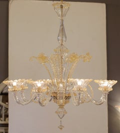 Murano Crystal and Amber Glass Chandelier