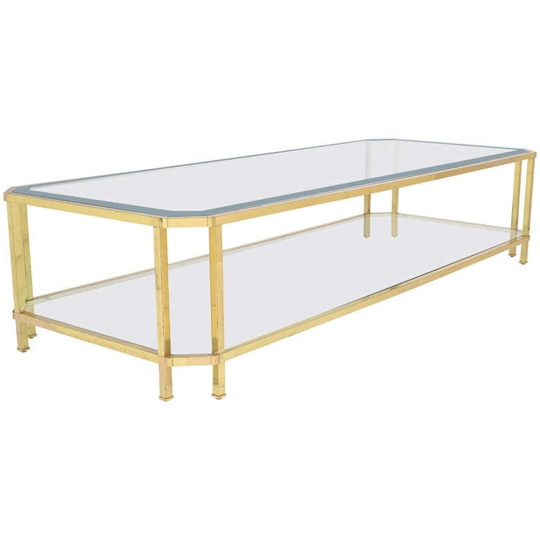 Large French Coffee Table: Large French Vintage Gilt Brass Coffee Table At 1stdibs