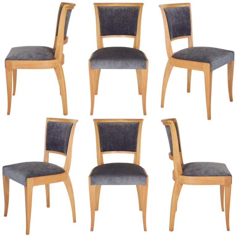 Set of 6 French Art Deco Dining Chairs in Solid Ash 1